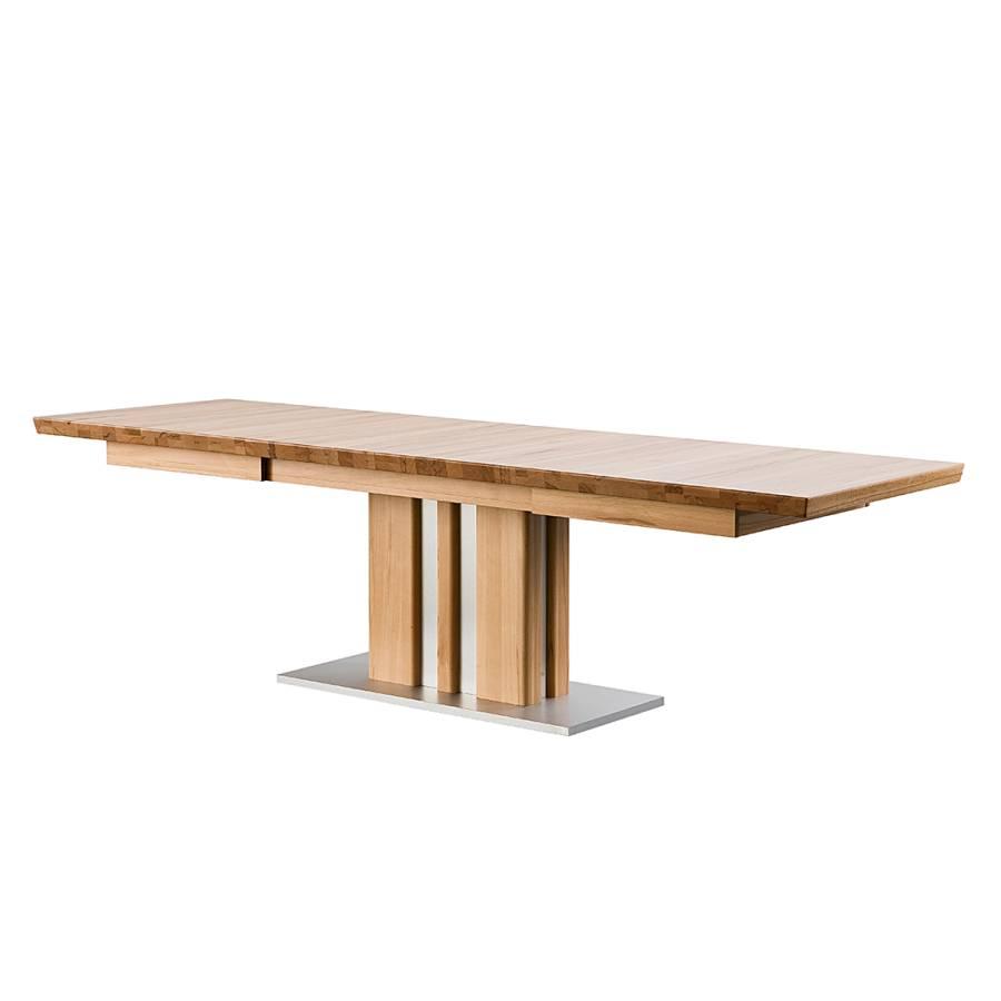 Table sur colonnes bozen avec rallonge ch ne massif for Table chene rallonge