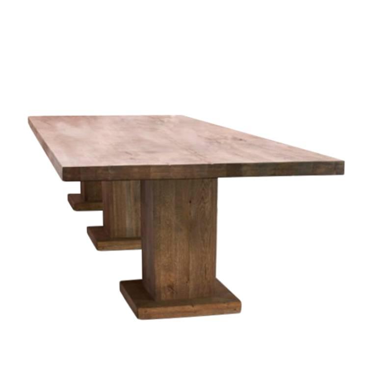 Table colonne chamber 3 colonnes ch ne massif aspect us huil - Table chene massif huile ...