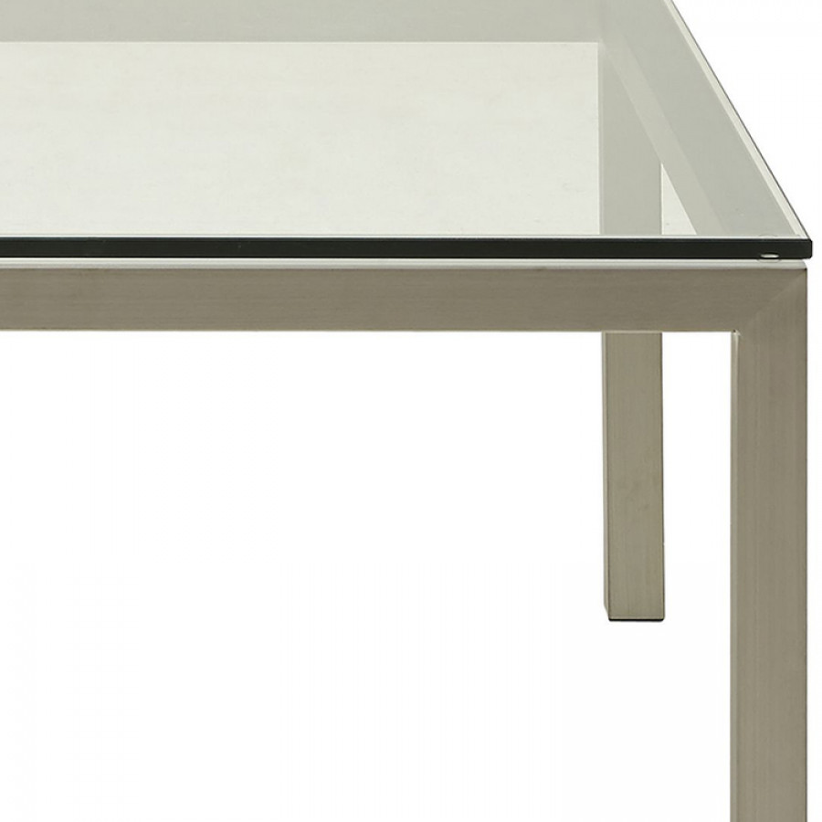 Table basse obvious verre acier inoxydable for Table basse verre acier