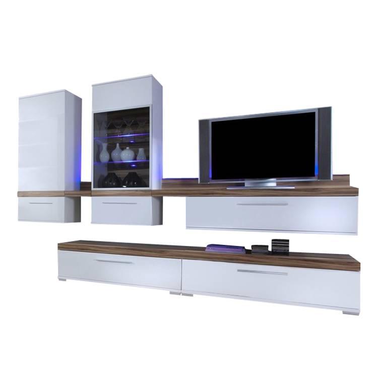 wohnwand sario ii wei hochglanz baltimore walnuss 6 teilig. Black Bedroom Furniture Sets. Home Design Ideas