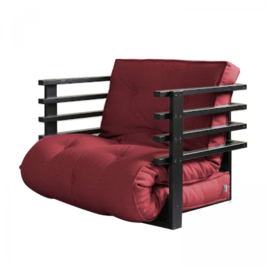 fauteuil convertible funk futon bordeaux noir. Black Bedroom Furniture Sets. Home Design Ideas