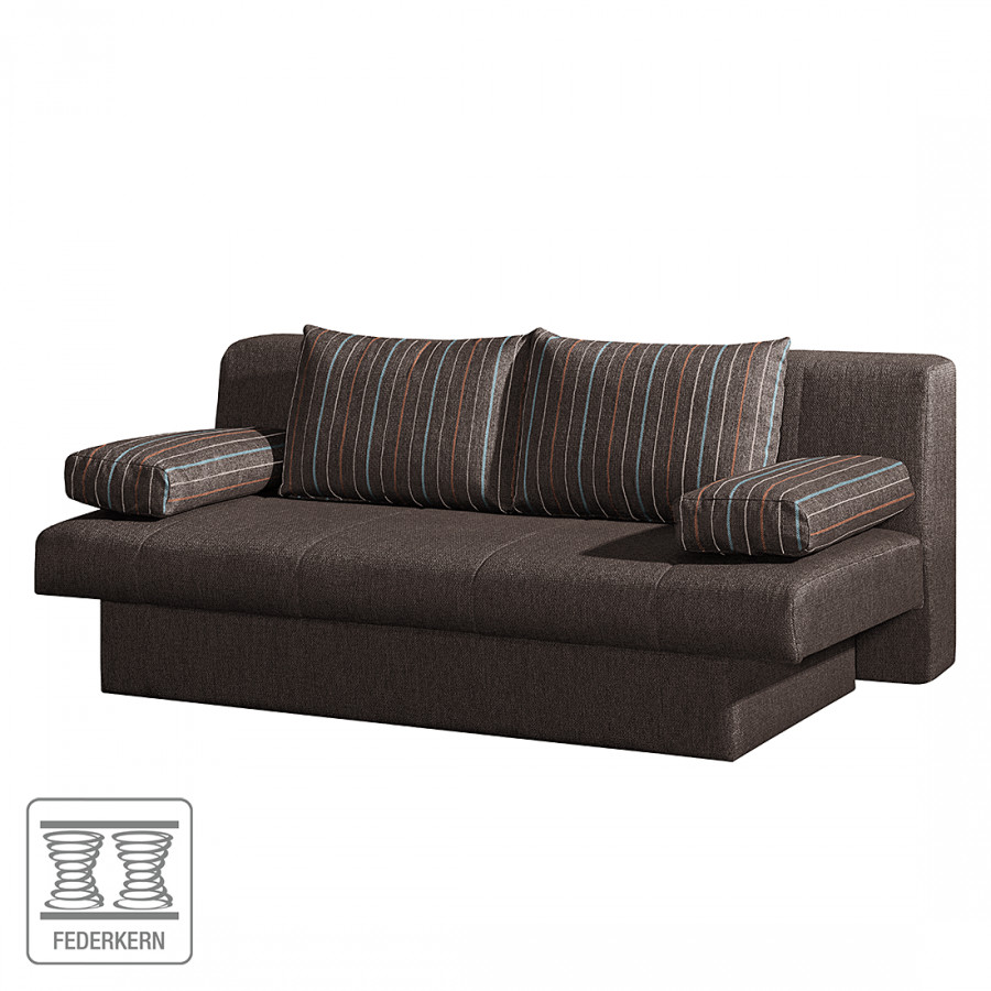 Canap convertible aiden tissu marron for Canape 150 x 200