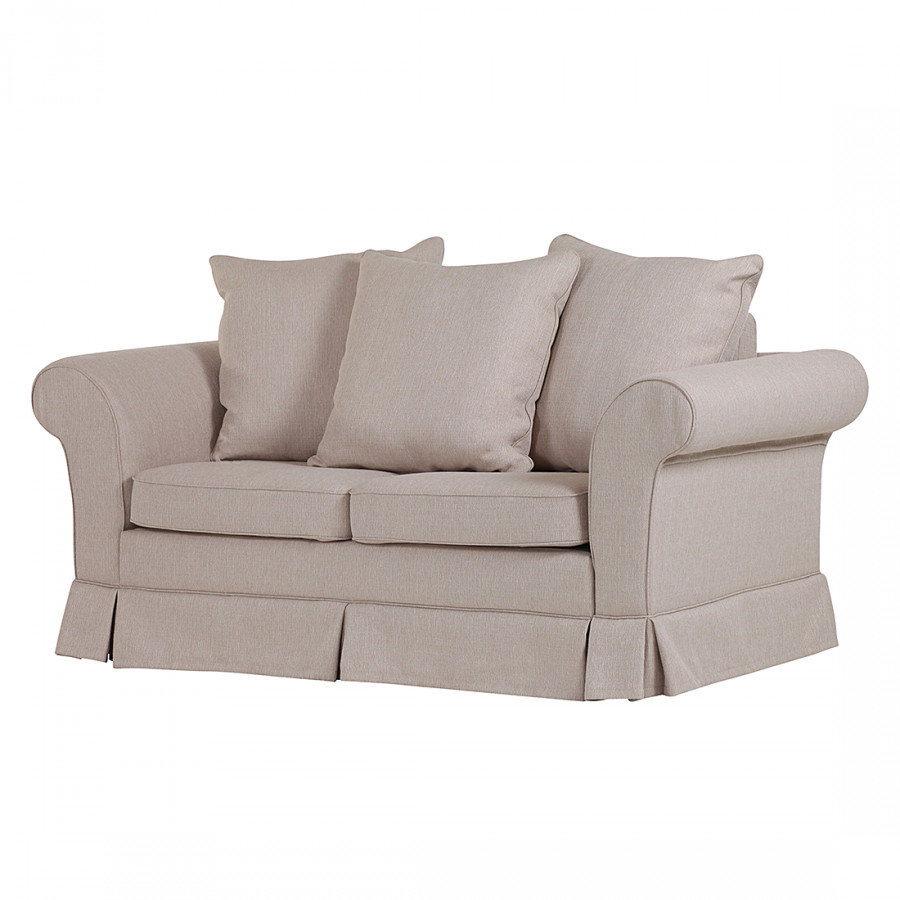 Canap convertible christa 2 places tissu beige for Canape 2 places beige