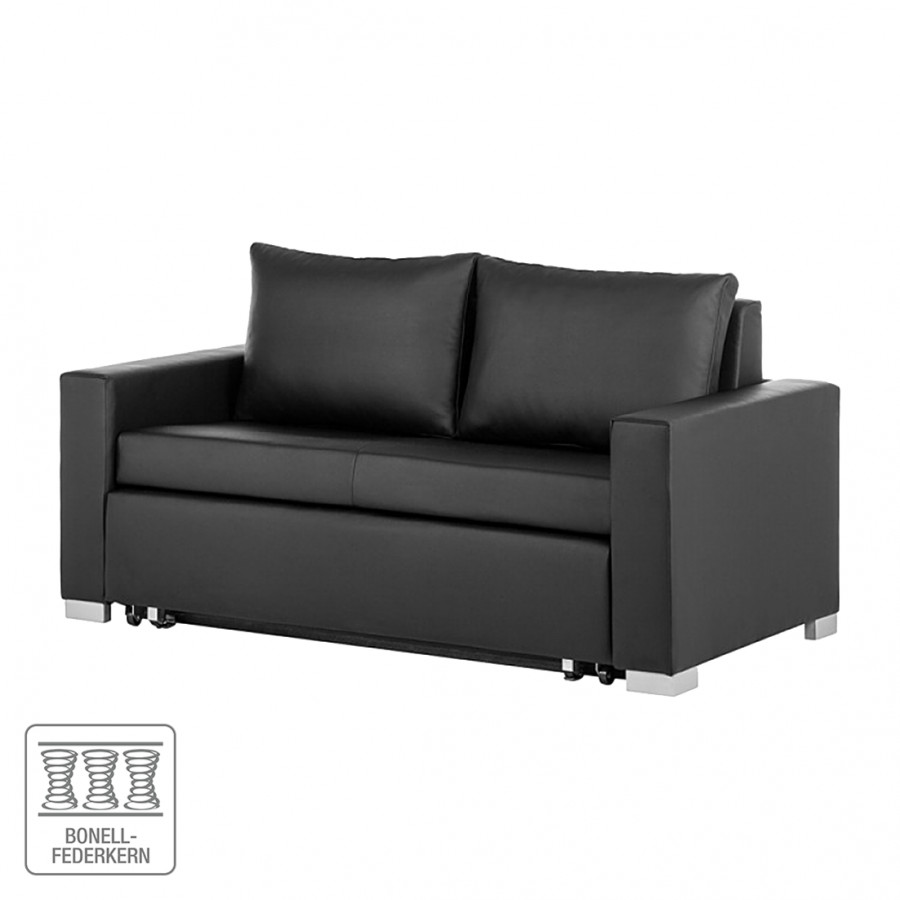 schlafsofa latina aus schwarzem kunstleder inkl zwei kissen home24. Black Bedroom Furniture Sets. Home Design Ideas