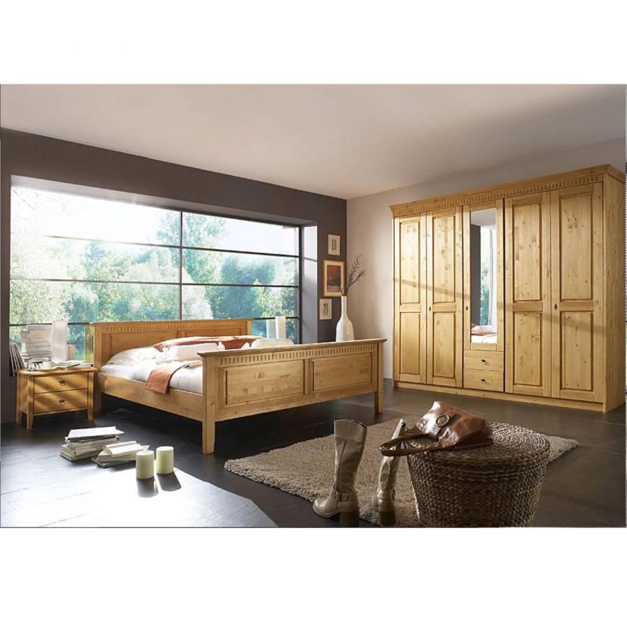 Schlafzimmer Set Rodrigo - Massivholz - antik gewachst