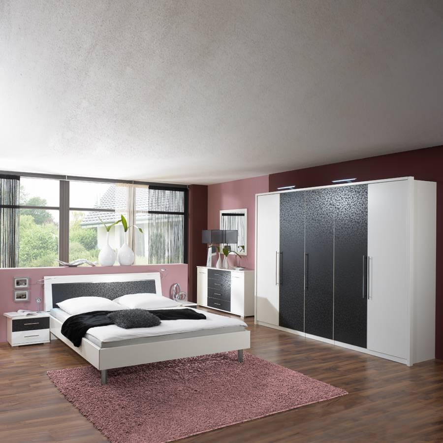 schlafzimmerm bel set zara 4 teilig wei schwarz bett dreht renschrank zwei nachtschr nke. Black Bedroom Furniture Sets. Home Design Ideas