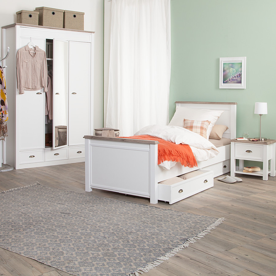 schlafzimmerset chateau wei eiche sanremo dekor home24. Black Bedroom Furniture Sets. Home Design Ideas