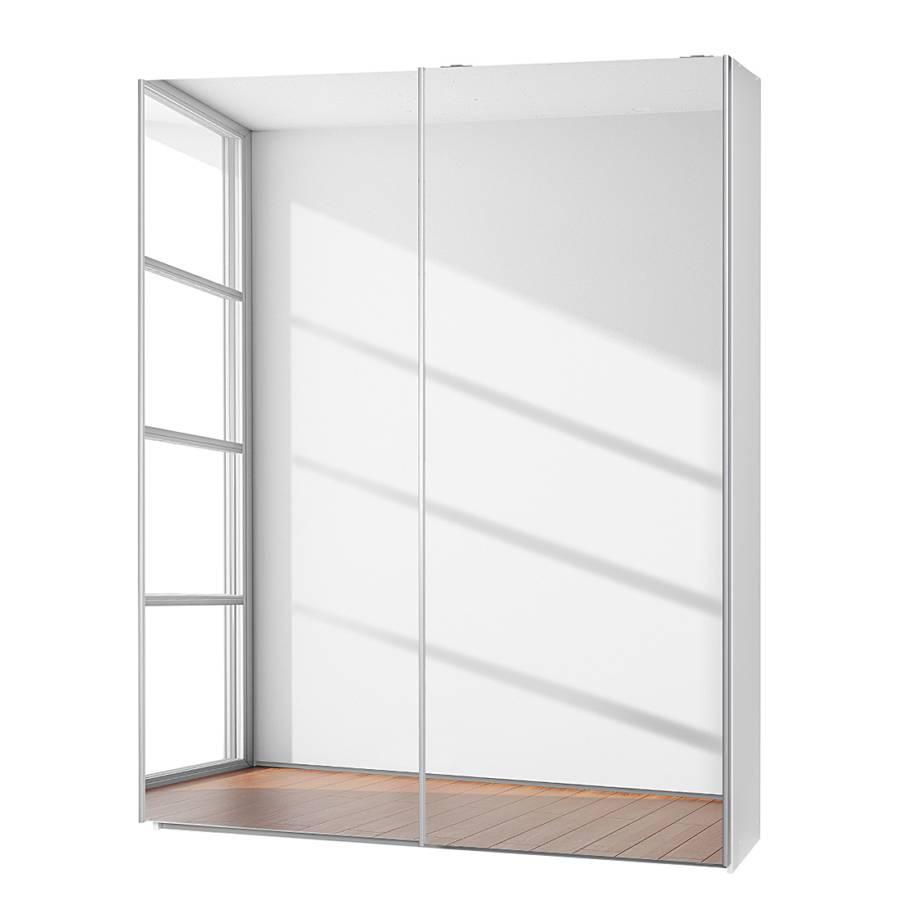 Armoire portes coulissantes soft smart i blanc portes avec miroir hom - Armoire 150 cm portes coulissantes ...