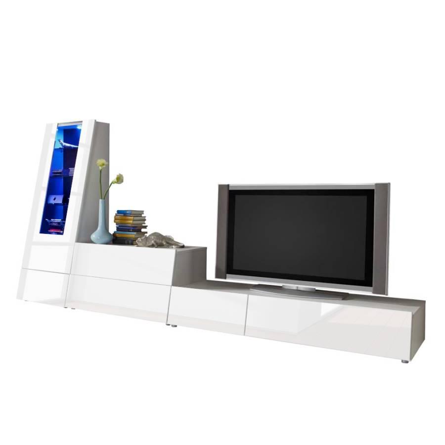 schrankwand nitesa 3 teilig wei hochglanz wei matt home24. Black Bedroom Furniture Sets. Home Design Ideas