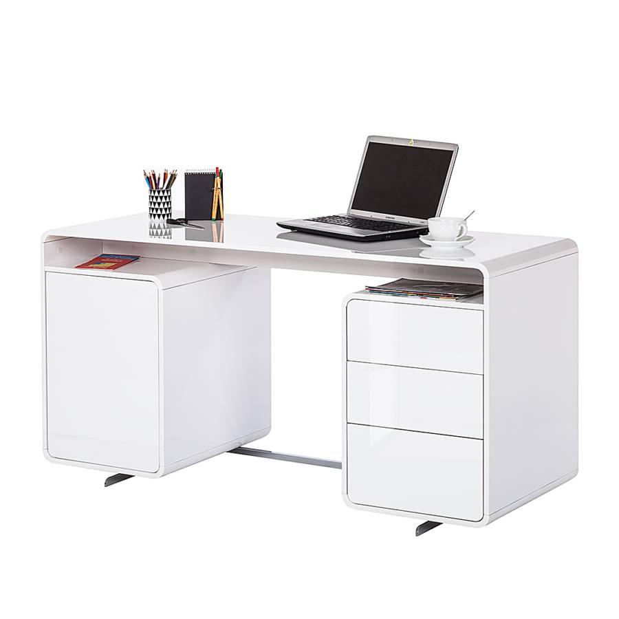Schreibtisch cuuba curve c15 hochglanz wei home24 for Schreibtisch abgerundet