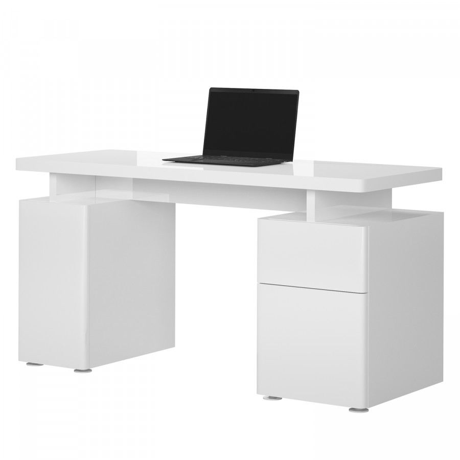 bureau cuuba libre 140 blanc blanc brillant. Black Bedroom Furniture Sets. Home Design Ideas