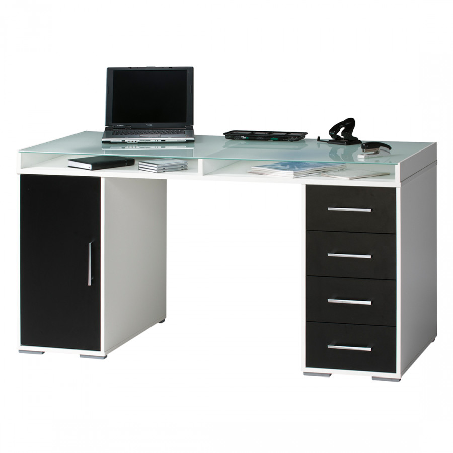 bureau pepino vi avec plateau en verre 2 caissons et rangements noir. Black Bedroom Furniture Sets. Home Design Ideas