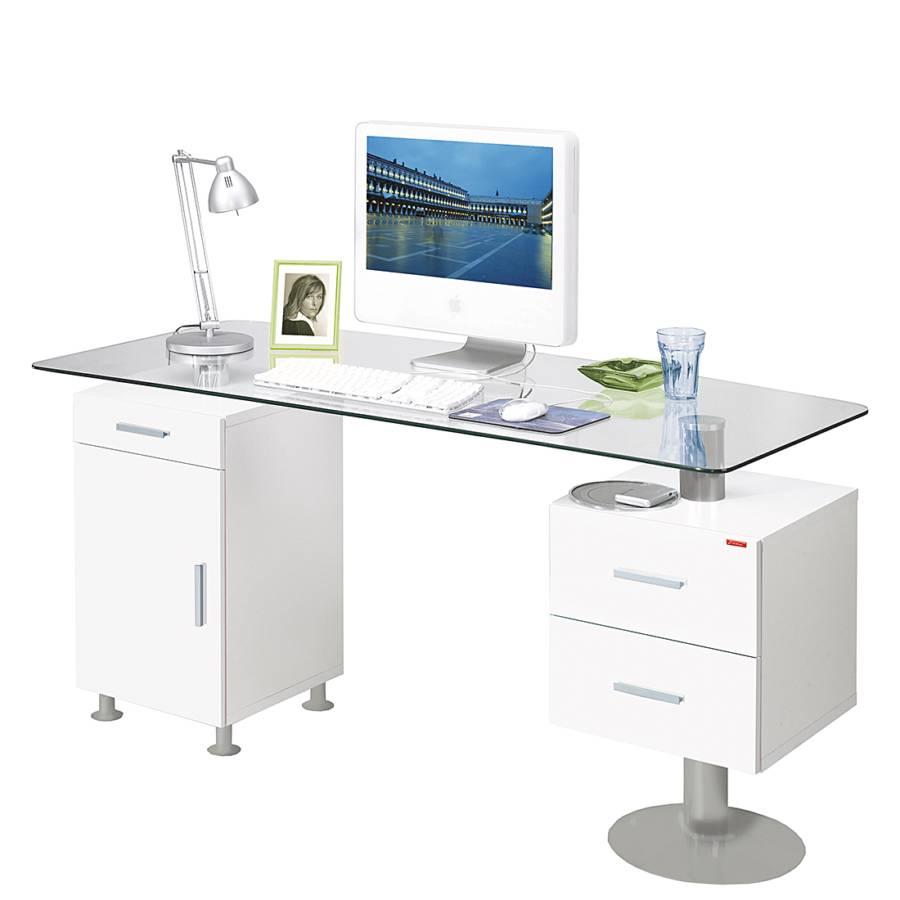 schreibtisch vicenca glas wei hochglanz home24. Black Bedroom Furniture Sets. Home Design Ideas