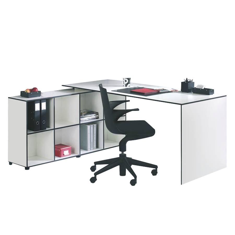 Schreibtisch winkelkombination bianconero 2 teilig for Schreibtisch 70 cm lang