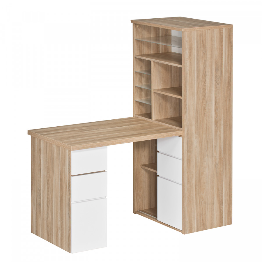 bureau avec tag re leela imitation ch ne blanc. Black Bedroom Furniture Sets. Home Design Ideas