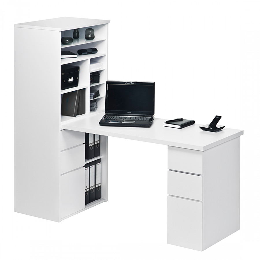 Bureau avec tag re leela blanc brillant for Meuble bureau avec etagere