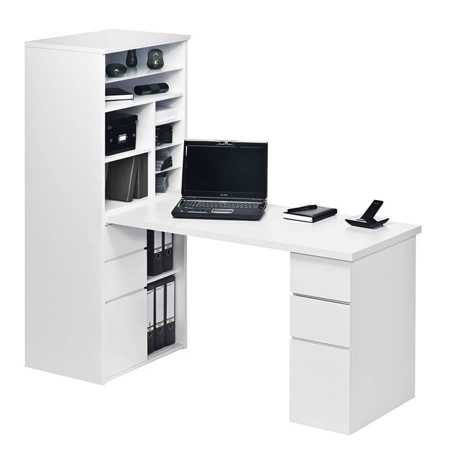 Bureau avec tag re leela blanc brillant for Bureau informatique avec etagere