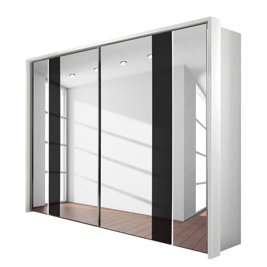 Schuifdeurkast arago 5 poolwit grijze spiegel wit glas - Home24 spiegel ...
