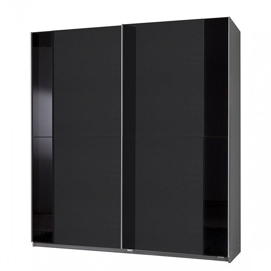 Armoire portes coulissantes arnaud anthracite aluminium noir - Armoire noire porte coulissante ...