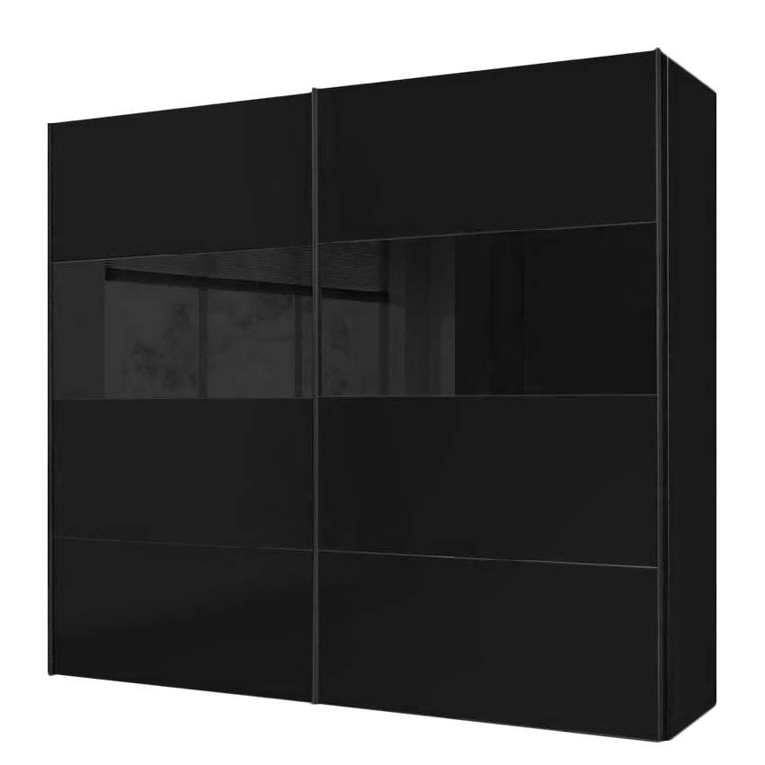 Armoire portes coulissantes laval noir verre noir - Armoire coulissante noir ...