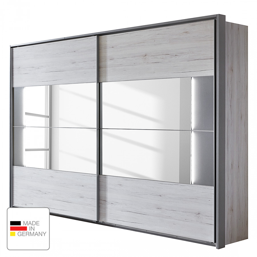 armoire portes coulissantes milano imitation ch ne blanc gris teco. Black Bedroom Furniture Sets. Home Design Ideas