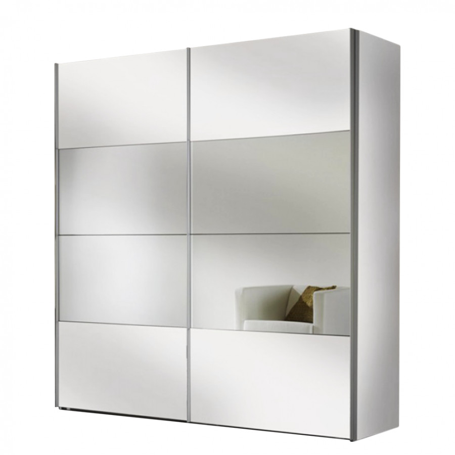 armadio ad ante scorrevoli portiers bianco candido specchio home24. Black Bedroom Furniture Sets. Home Design Ideas