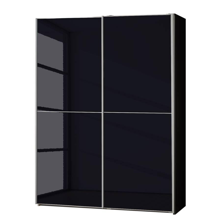 Armoire portes coulissantes rimini verre noir - Armoire coulissante noir ...