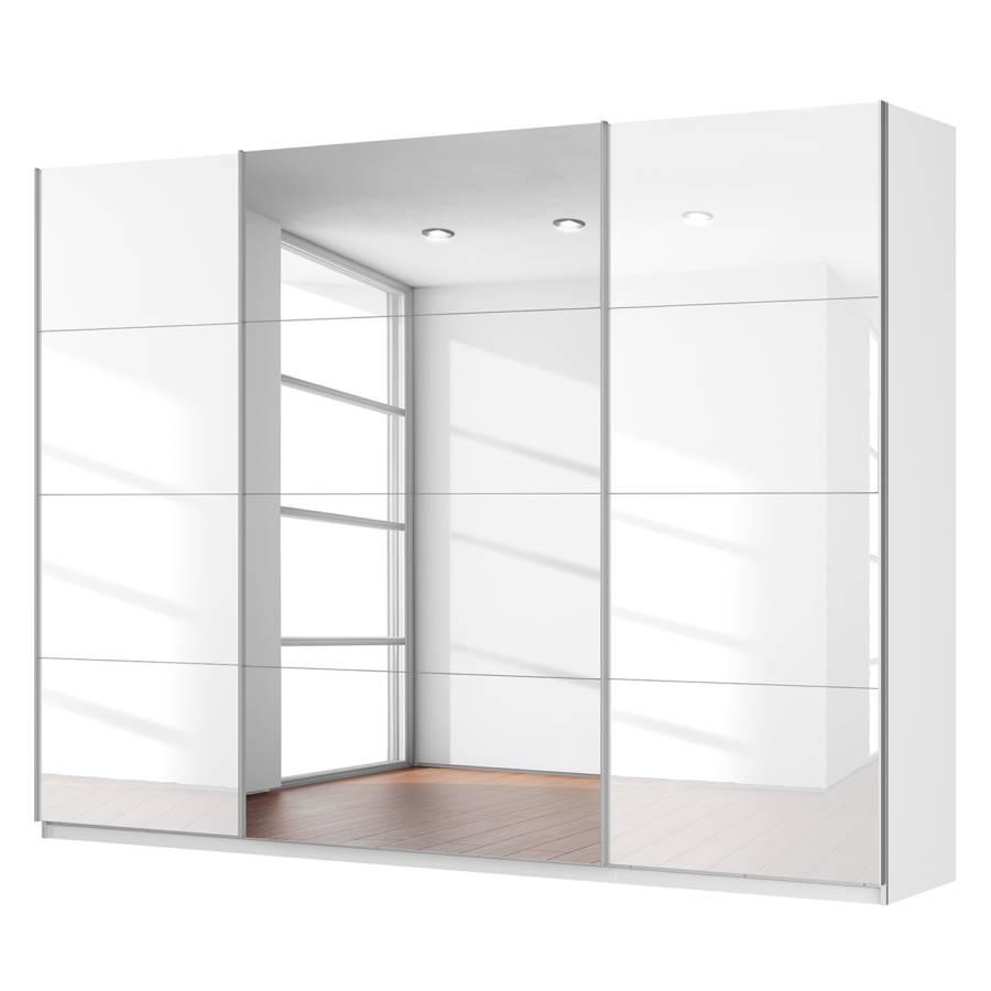 Armadio ad ante scorrevoli sk p bianco alpino bianco lucido specchio 181 cm home24 - Armadio 3 ante scorrevoli specchio ...