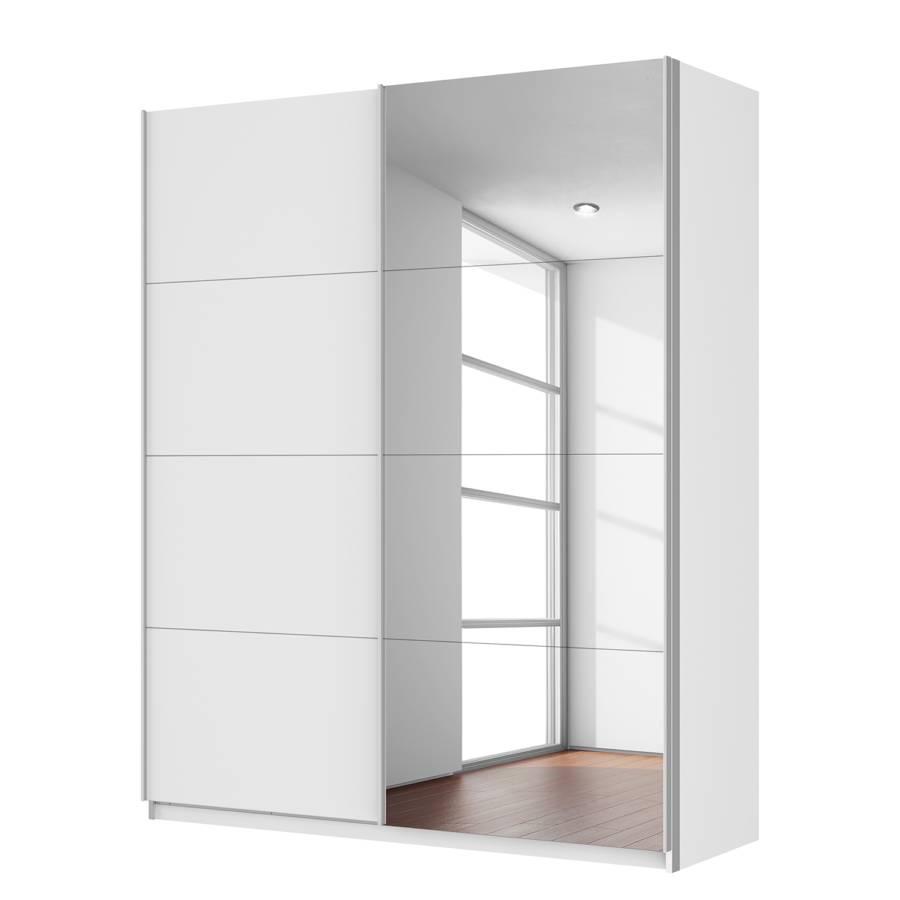 Armoire portes coulissantes sk p blanc alpin miroir - Armoire 150 cm portes coulissantes ...