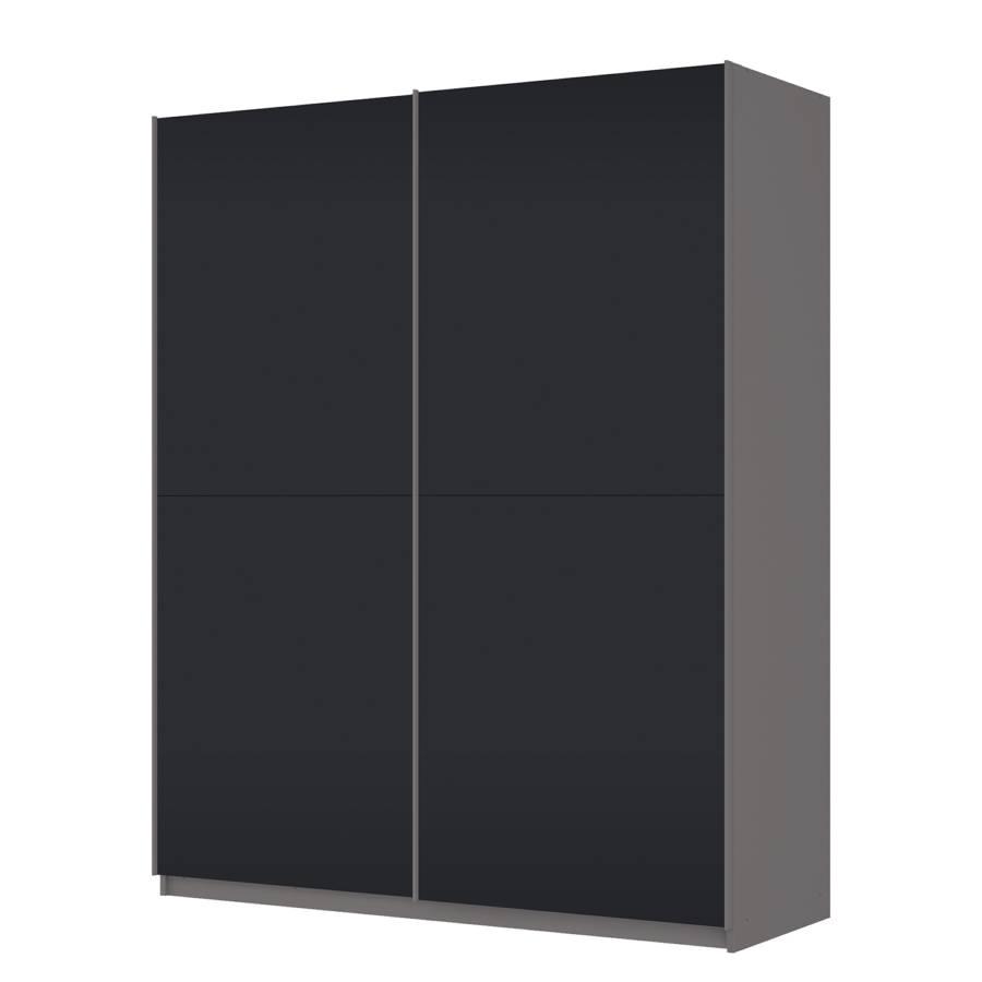 Armoire portes coulissantes sk p graphite verre mat noir - Armoire coulissante noir ...