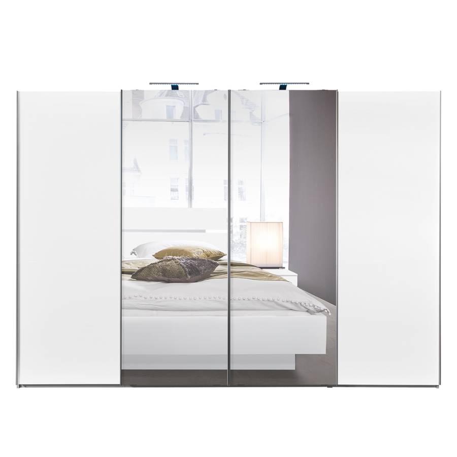 Armoire portes coulissantes synkro blanc miroir en for Armoire portes coulissantes miroir