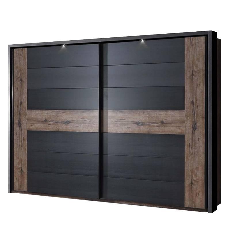 armoire portes coulissantes treve imitation ch ne noir. Black Bedroom Furniture Sets. Home Design Ideas
