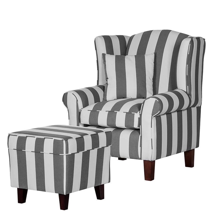 sessel colmar webstoff grau gestreift. Black Bedroom Furniture Sets. Home Design Ideas