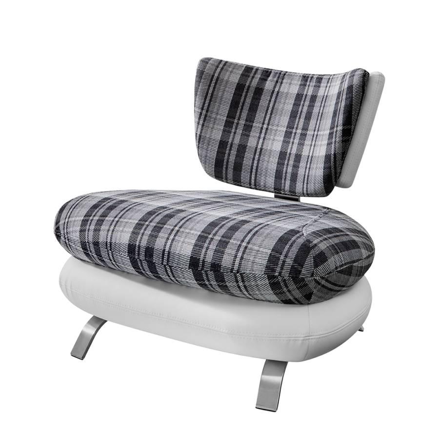 sessel cozy kunstleder wei stoff wei grau kariert. Black Bedroom Furniture Sets. Home Design Ideas