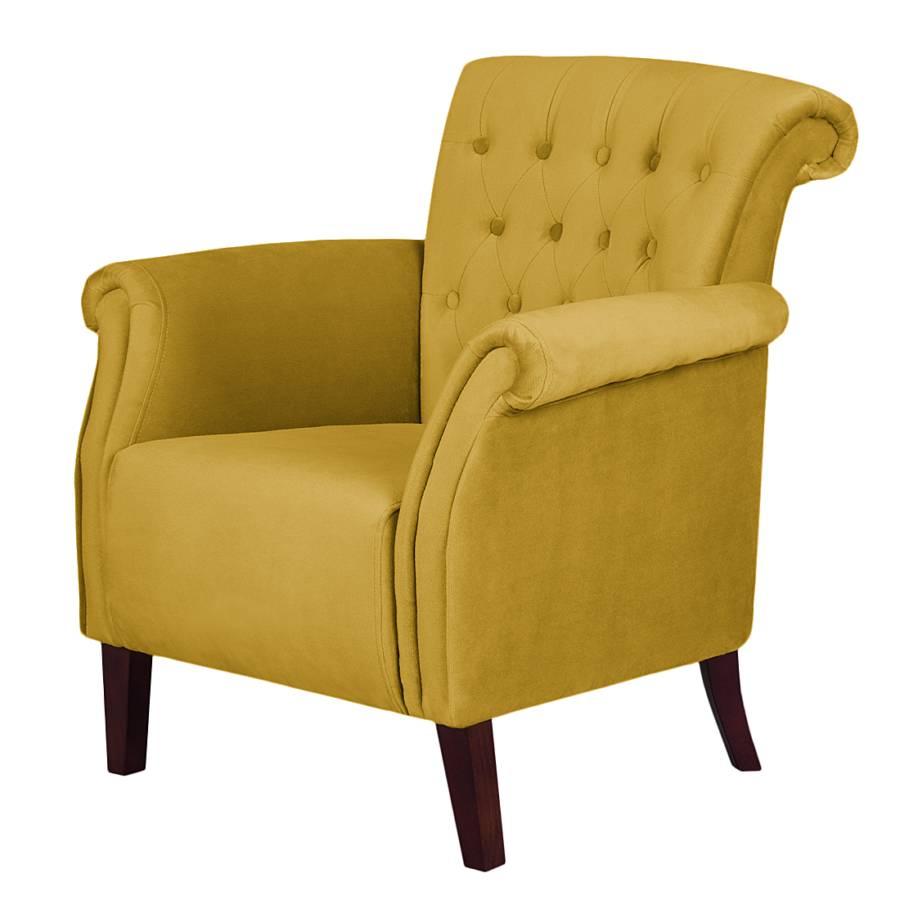 Nu bij home24 fauteuil van furnlab - Geel fluweel ...