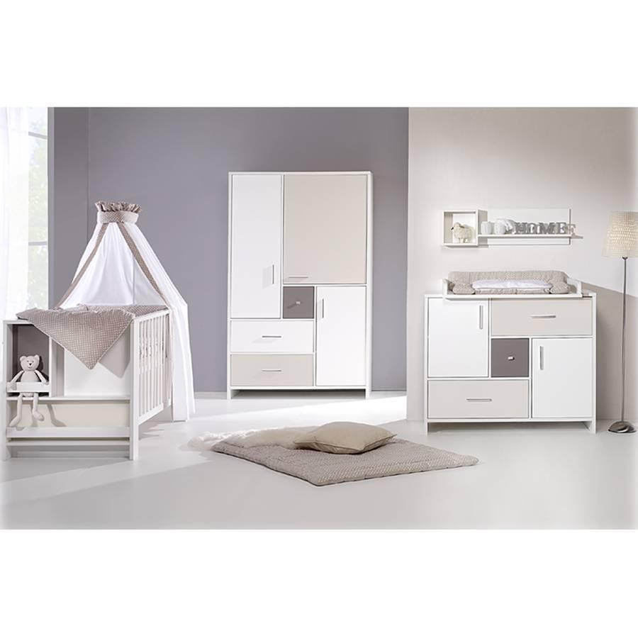 Babyzimmer Candy (3-tlg.) - Weiß / Beige / Grau Home24