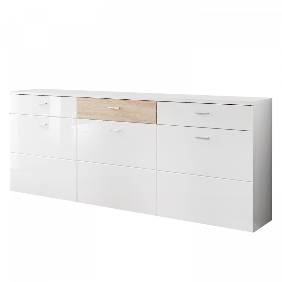 sideboard amele hochglanz wei eiche sonoma dekor. Black Bedroom Furniture Sets. Home Design Ideas