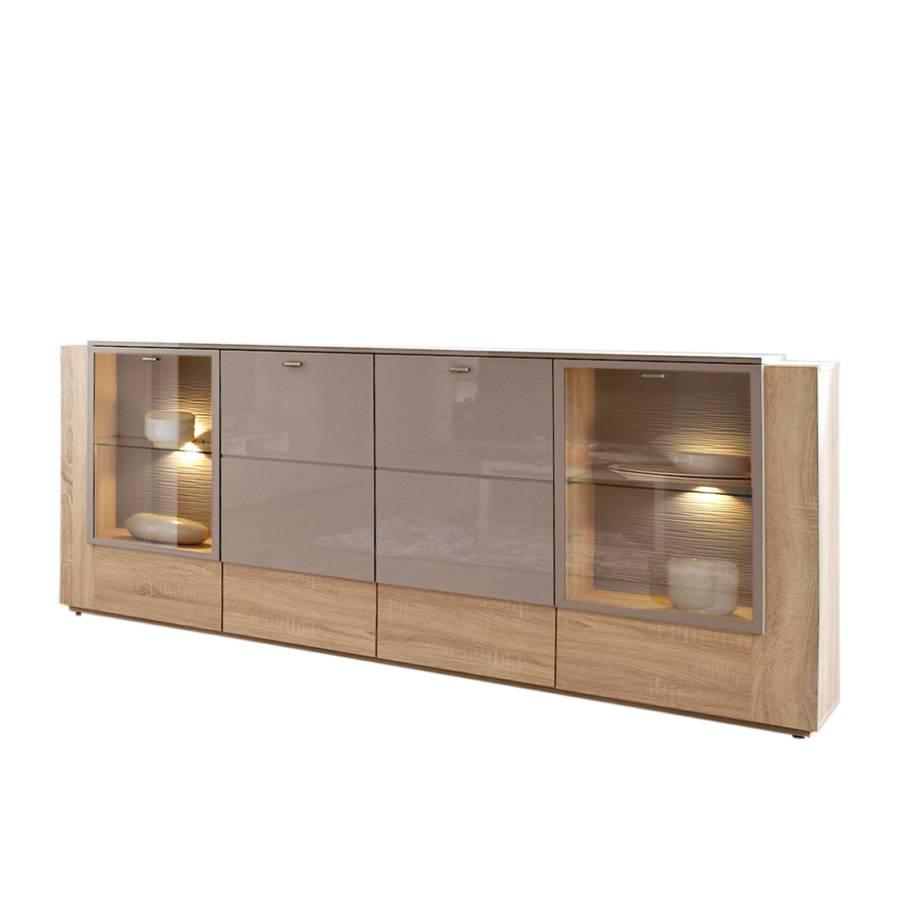 Sideboard ancona eiche dekor grau hochglanz home24 for Kommode yoga iv