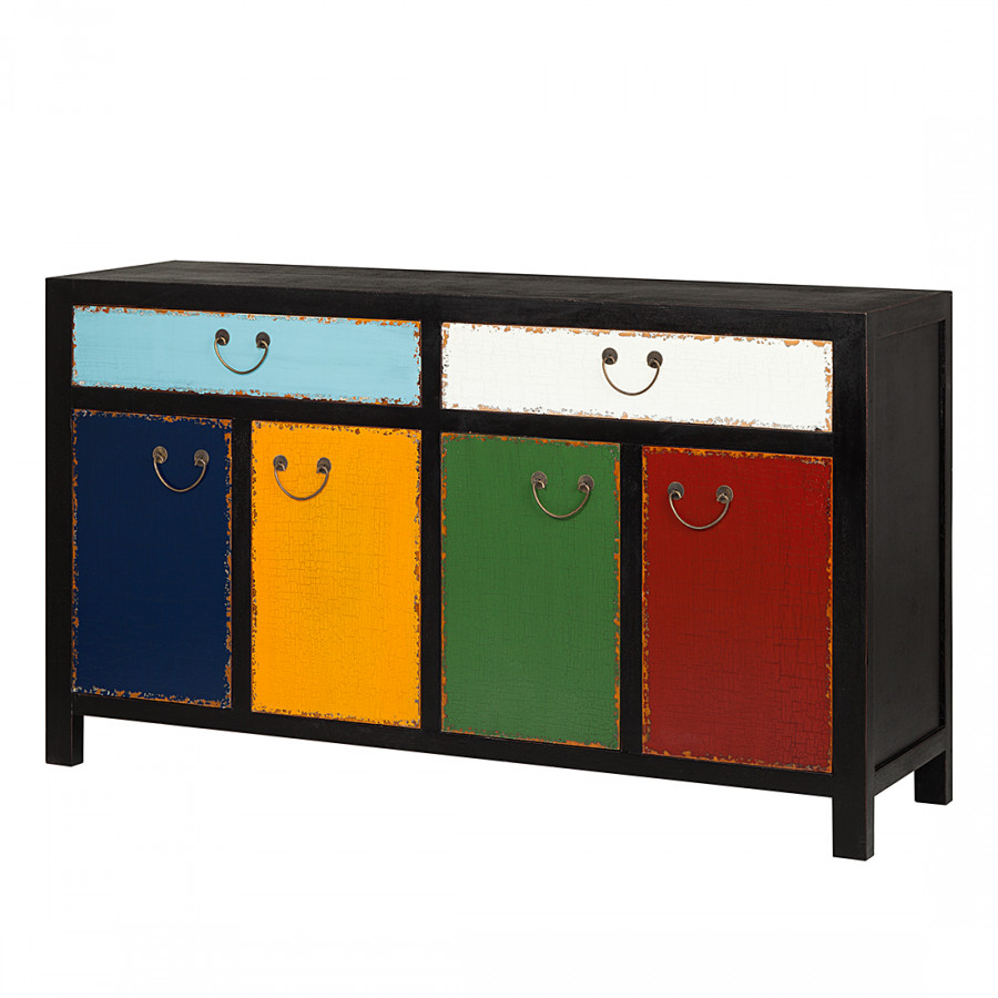 sideboard harlekin pappelholz bunt lackiert. Black Bedroom Furniture Sets. Home Design Ideas
