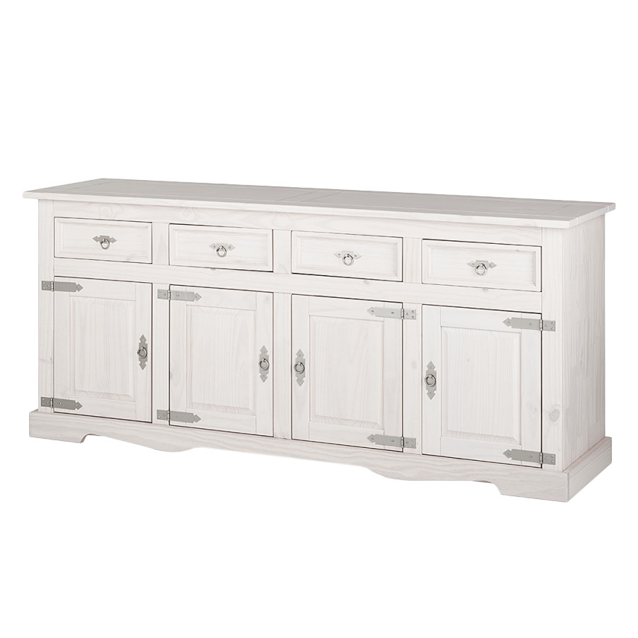 Buffet zacateca 4 portes pin massif blanc for Buffet bois massif blanc
