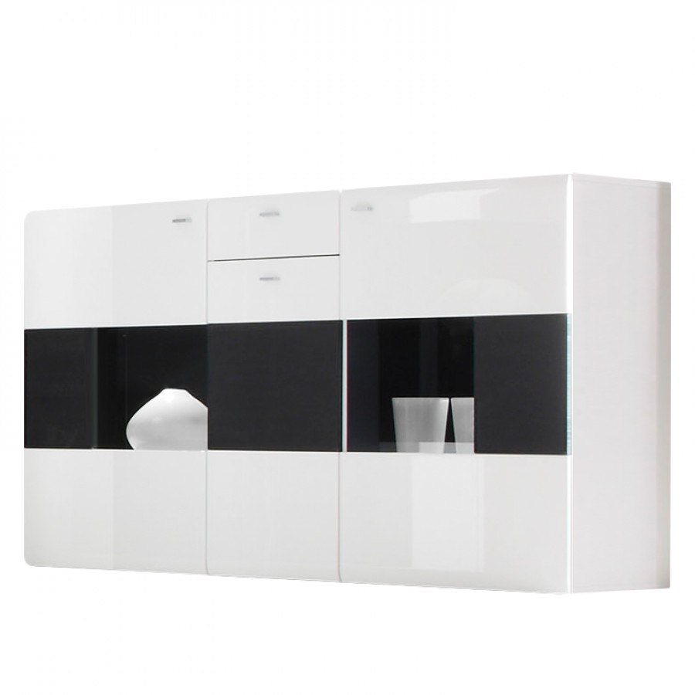 sideboard matane hochglanz wei schwarz home24. Black Bedroom Furniture Sets. Home Design Ideas