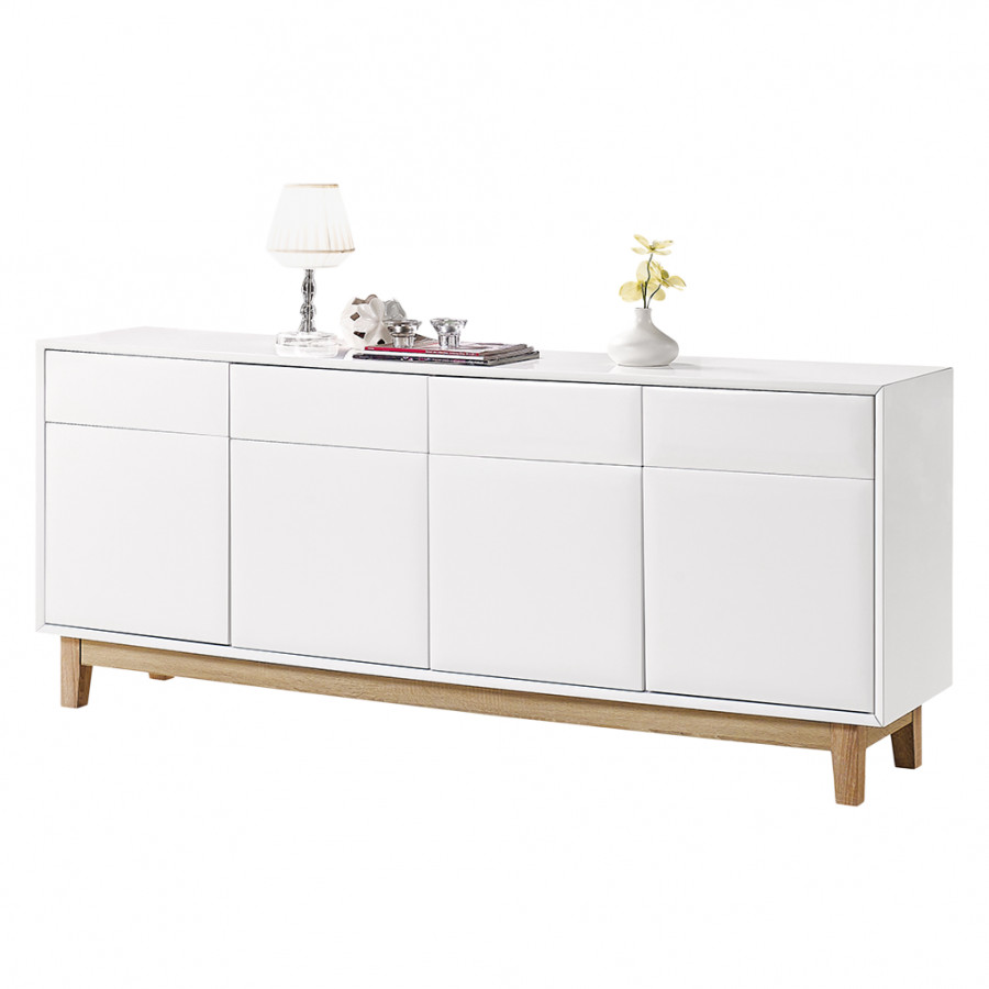 sideboard melia i hochglanz wei eiche home24. Black Bedroom Furniture Sets. Home Design Ideas