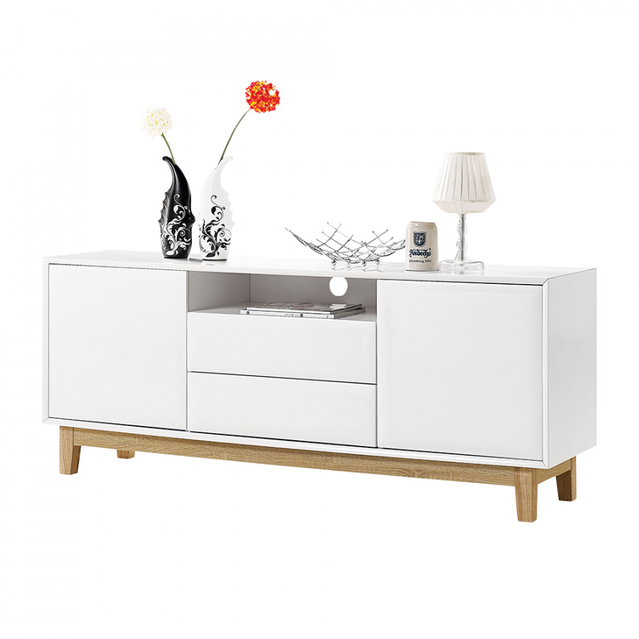 sideboard melia ii hochglanz wei eiche home24. Black Bedroom Furniture Sets. Home Design Ideas