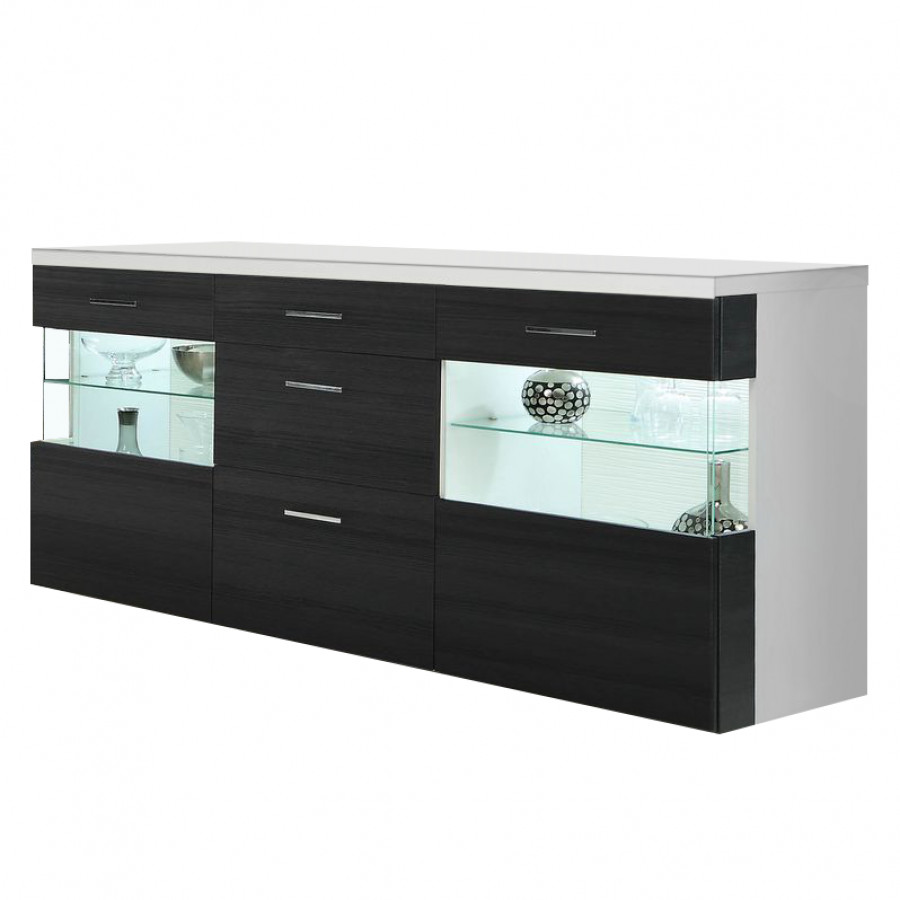 sideboard terenzo eiche schwarz dekor hochglanz wei home24. Black Bedroom Furniture Sets. Home Design Ideas