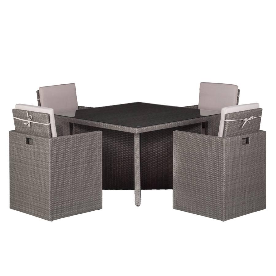 Zitgroep paradise lounge iii 5 delig polyrotan geweven stof - Deco lounge grijs en beige ...