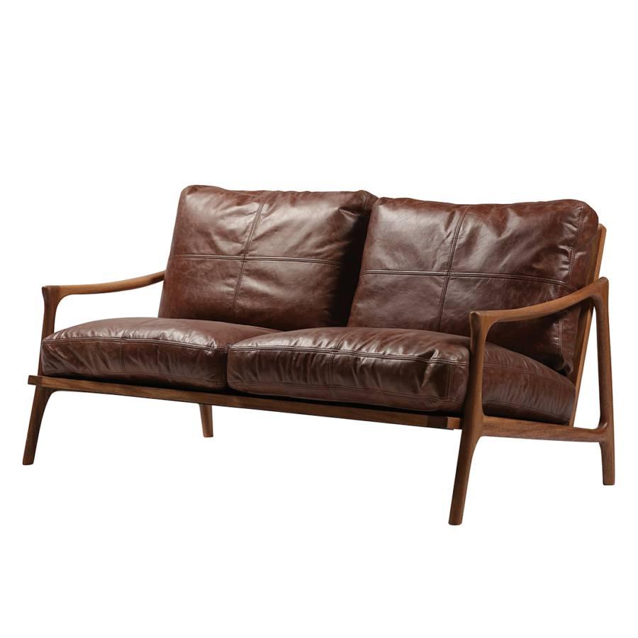 sofa hermes walnuss massiv echtleder braun home24. Black Bedroom Furniture Sets. Home Design Ideas