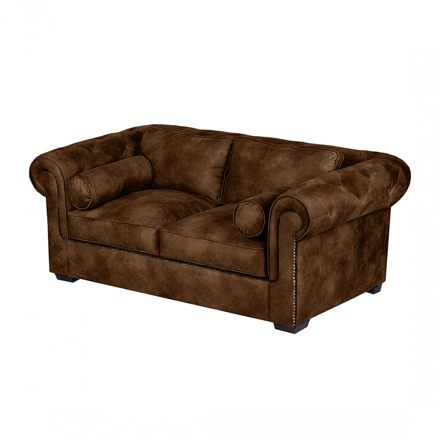 Canap mallow 2 places aspect cuir vieilli marron for Canape cuir vieilli
