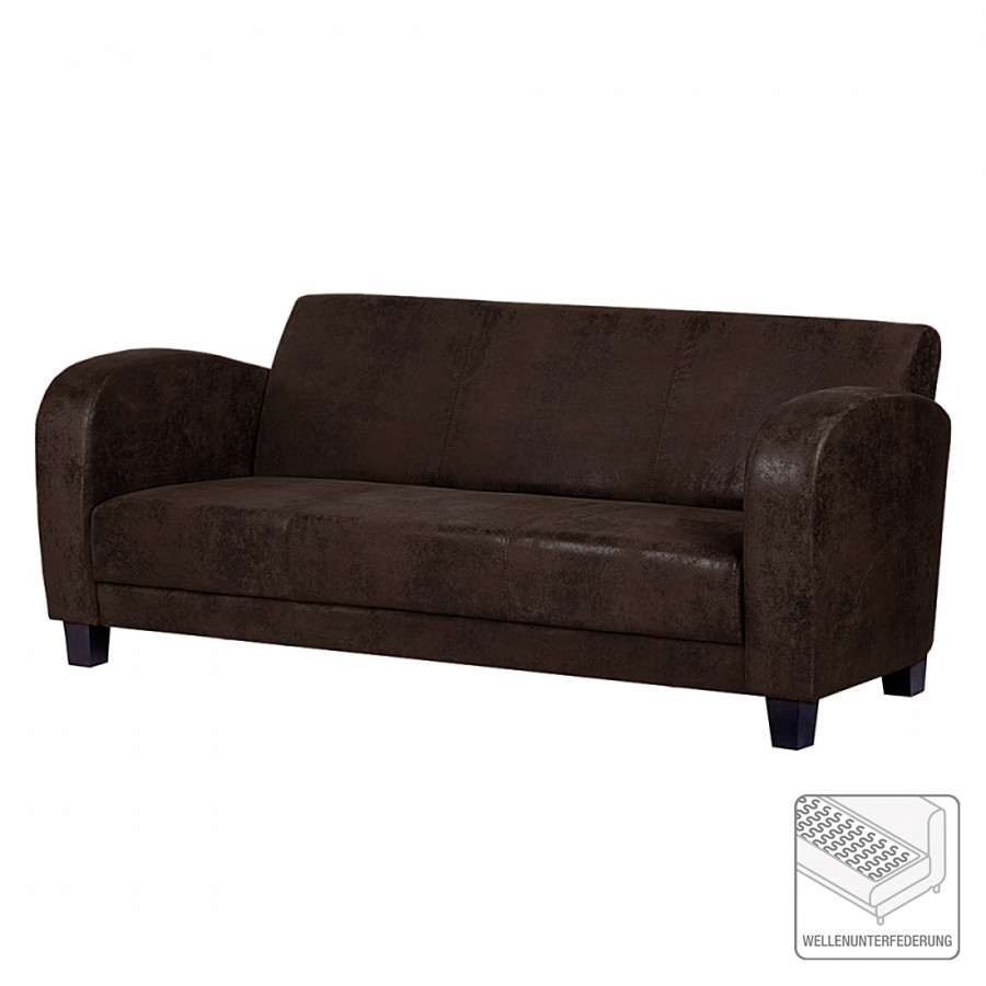 canap tullow 3 places aspect vieux cuir marron fonc. Black Bedroom Furniture Sets. Home Design Ideas