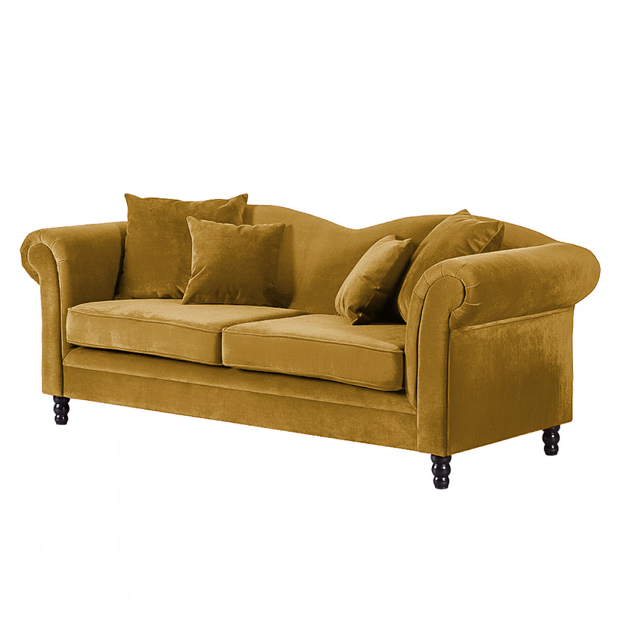 sofa york 3 sitzer samtstoff senfgelb home24. Black Bedroom Furniture Sets. Home Design Ideas