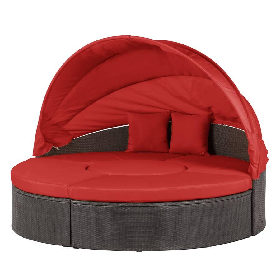 Loungebank Paradise Lounge L - polyrotan/staal - grijsbruin - rood